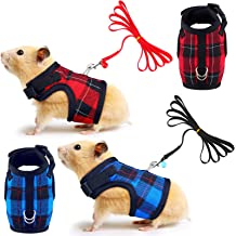 2 Pieces Guinea Pig Harness and Leash Soft Plaid Small Pet Harness with Safety Bell Adjustable No Pull Comfort Padded Walking Vest for Ferret Chinchilla and Similar Small Animals Red, Blue, S